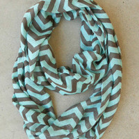 Chocolate & Mint Chevron Circle Scarf [4526] - $16.00 : Vintage Inspired Clothing & Affordable Summer Frocks, deloom | Modern. Vintage. Crafted.