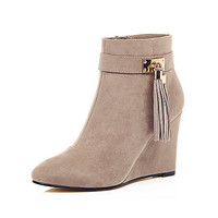 Light grey wedge ankle boots - wedges - shoes / boots - women
