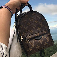 LV Louis Vuitton Popular Women Casual Daypack School Bag Cowhide Leather Backpack