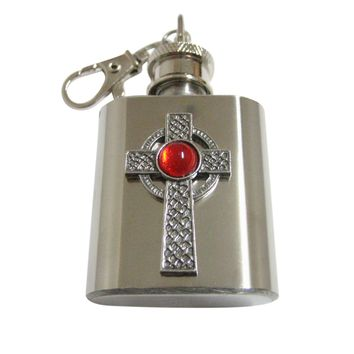Textured Large Celtic Cross with Red Center 1 Oz. Stainless Steel Key Chain Flask