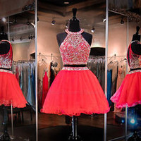 Two Pieces Beading Homecoming Cocktail Pageant Evening Dress Party Prom Gown