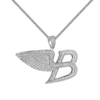 "Luxury Car Logo B Pendant Full  Angel Wings 1.5"" Free Necklace 24 Inch"