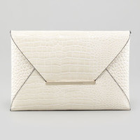 Crocodile-Embossed Envelope Clutch, Oyster