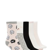 Sheep Print Crew Socks - 5 Pack