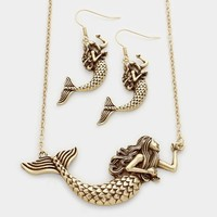 Metallic Mermaid Gold Plated Womens Pendant Necklace