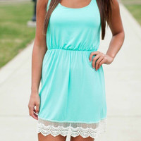 Blue Scoop Neckline Sleeveless Lace Trim Mini Dress