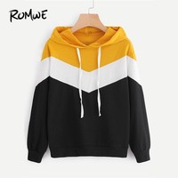 ROMWE Hooded Cut And Sew Multicolor Colorblock Chevron Sweatshirt  Spring Autumn Ladies Long Sleeve Women Casual Hoodie