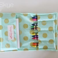 Mint Green and Gold Metallic Crayon Wallet - Children's Toy - Toddler Quiet Toy - Birthday Gift