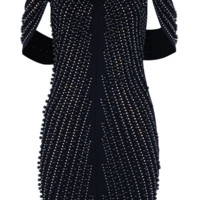 'Oxana' Pearled Crystal Dress - Black