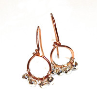 Rose Gold Earrings - Rose Gold Jewelry - Gold Loop Earrings - Delicate Earrings - Simple Jewelry - Valentines Style - FizzCandy