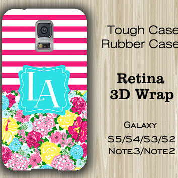 Stripes with Floral Monogram Samsung Galaxy S5/S4/S3/Note 3/Note 2 Case