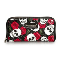 Loungefly White Skull and Roses Patent Wallet - Wallets