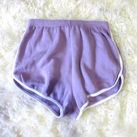 Retro 80s Jogger Sweat Gym Shorts Lilac Purple