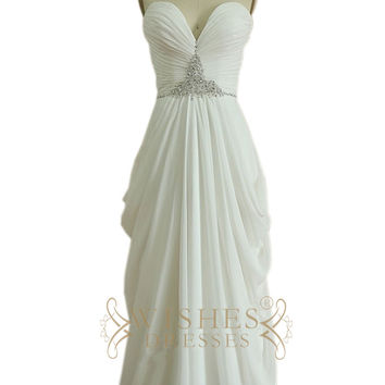 Column Strapless Chiffon Prom Dress with Beaded Belt Am477