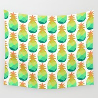Pineapple Wall Tapestry by Hedehede