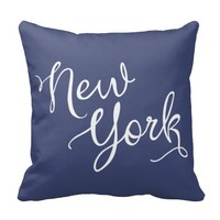 Chic Navy Blue and White New York Typography Pillows