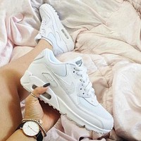 NIKE AIR MAX 90 Trending Women Men Personality Sport Running Shoe Sneakers Pure White I