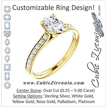 Cubic Zirconia Engagement Ring- The Gloria (Customizable Oval Cut with Princess Channel Bar Setting)