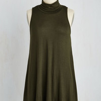 Boho Long Sleeveless Ease to Meet You Tunic in Olive