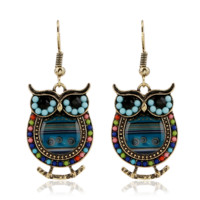 Fashion Multi-coloured owl earrings