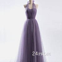 A-line tulle sweetheart neck long prom dress, bridesmaid dress