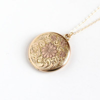 Vintage 10k Gold Filled Flower Locket Necklace - 1940s 1950s WWII Era Sweetheart Floral Embossed Rose Gold Tone Round Pendant Jewelry
