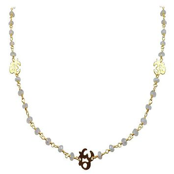 """CHG-197-RM-OM-18"""" 18K Gold Overlay Necklace With Rainbow Moonstone"""