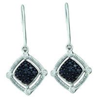 Black Diamond Fashion Earrings in 14k White Gold 0.22 ctw