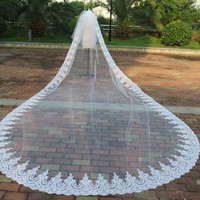 Two layer lace edge Long 3 metre Width 5 metre length bridal veils Cathedral length wedding veil bridal Cover Face veil