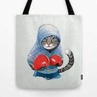 Boxing Cat Tote Bag by Tummeow