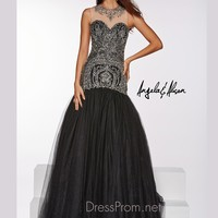 Fit & Flare Illusion Neckline Angela & Alison Prom Ball Gown 51097