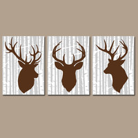 DEER Wall Art, CANVAS or Prints Rustic Country Artwork, Baby Boy Nursery, Boy Bedroom Pictures Set of 3 Rustic Decor, Birch Wood Effect