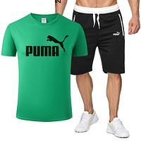 PUMA Summer Fashion Men Casual Print Short Sleeve T-Shirt Top Shorts Sport Set Two-Piece Green