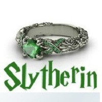 Emeralds glow in this Harry Potter inspired Slytherin Ring!