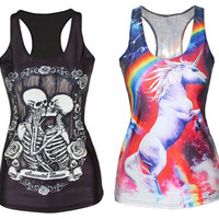 Stylish U-Neck Skeleton and Floral Print Sleeveless High Elastic Tank Top For Women = 1841873604