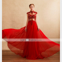 [$107.99] Dress A-line High Neck Floor-length Chiffon with Appliques / Beading