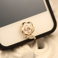 Phone Charm Home Button Bling Cute Crystal White Flower Button Sticker for iPhone 4,4s,4g, 5 , ipad , ipad mini