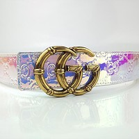 GUCCI Couple's Letter Buckle Leather Embossed Letter Belt