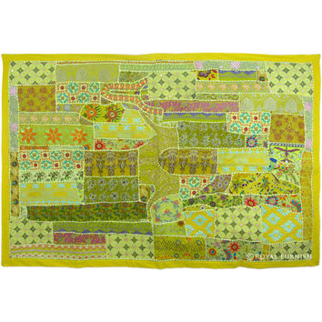 Oversized Recycled Vintage Patchwork India Wall Tapestry