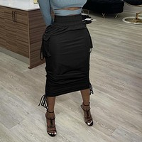 High Waist Solid Color Tight Skirt