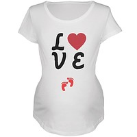 Valentine's Day Love Baby Red Feet Womens Soft Maternity T-Shirt