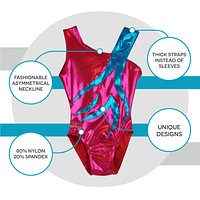 O3GL050 Obersee Girls Gymnastics Leotard One-Piece Athletic Activewear Girl's Dance Outfit Girls' & Women's Sizes - Spin Fuchsia