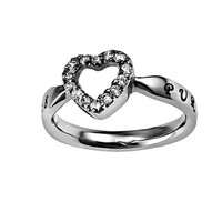"""Christian Womens Stainless Steel Abstinence 3mm Matthew 5:8 """"Purity"""" CZ Open Heart Solitaire Chastity Ring for Girls - Girls Purity Ring - Comfort Fit Ring"""