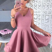 Baby Pink Short Homecoming Dress, Deep V Neck Homecoming Dresses