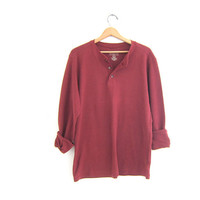 vintage long sleeve top. button front henley. cotton burnt sienna colored shirt. size L