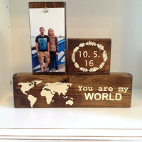World map on wood home decor rustic world map sign wooden blocks wood stain sign custom wedding anniversary gift bridal shower gift minimal
