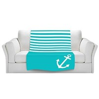 Blankets Ultra Soft Fuzzy Fleece 4 SIZES! from DiaNoche Designs Home Decor Unique Designer Artistic Stylish BedroomCouch or Throw Blankets by Organic Saturation - Teal Love Anchor Nautical