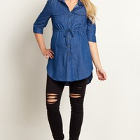Navy-Blue-Denim-Button-Front-Maternity-Top