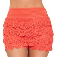Hot From Hollywood Women's Posh Sexy Fitted Lace Layered Summer Shorts