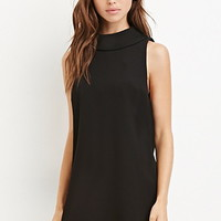 Funnel-Collared Shift Dress